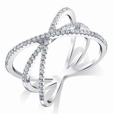 Women 925 Sterling Silver Criss Cross X CZ Ring with Extra Band in Center NEW!