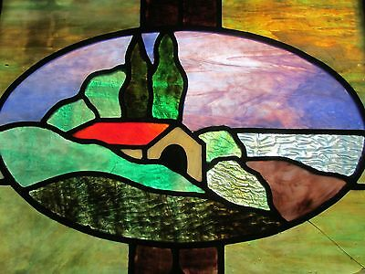 Large ART DECO Lead Stained Glass Window LITTLE HOUSE ON THE SEA Wood Frame42X23
