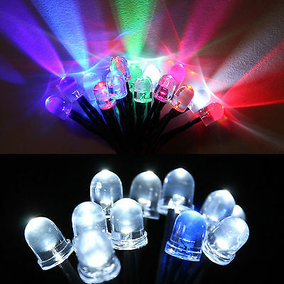 10pcs 8mm DC 9-12V Pre-Wired Water Clear White Red Blue Green UV LED Diodes