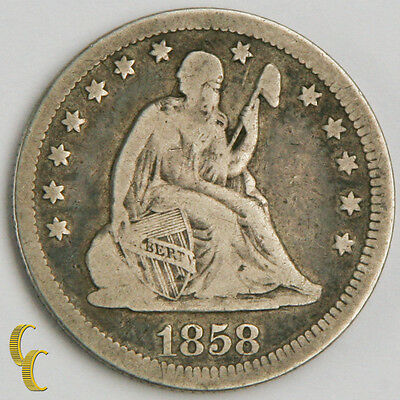 1858 Silver Seated Liberty Quarter (VG) Very Good Condition