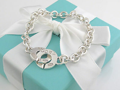 Tiffany & Co Silver 1837 Circle Link Clasp Toggle Bracelet Box Included
