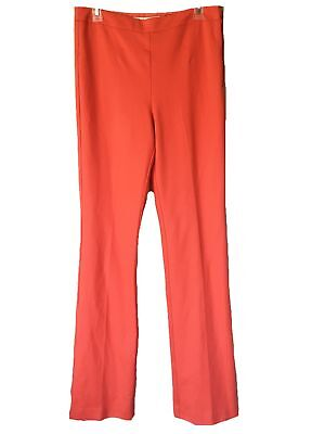 Trina Turk $300 Mid-Rise Lined Ponte Knit Flare Leg Exposed Side Zip Pants Sz 8