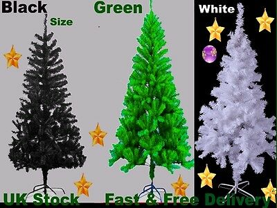 Artificial Christmas Tree Green/Black with Metal Stand Xmas Decorations 4,5&6fts