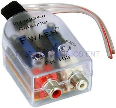 Car High to Low Impedance Converter Adapter Speaker Output to RCA Line Control