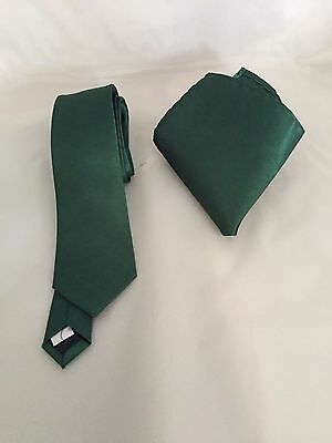 """P/&P 2UK /> 1st Class Teal Green Mens Classic Tie and Hankie Set-3.3/"""" = 8cm Width"""