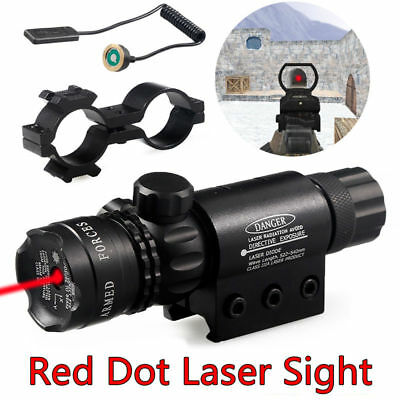 Tactical Red Dot Laser Sight Rifle Gun Scope Rail + Remote Switch For Hunting