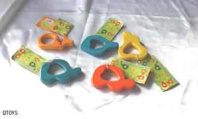 ALL 3 ***Wooden Teether+Twin Rattle+Clown Fish Rattle BABY TOYS Eco Friendly NEW