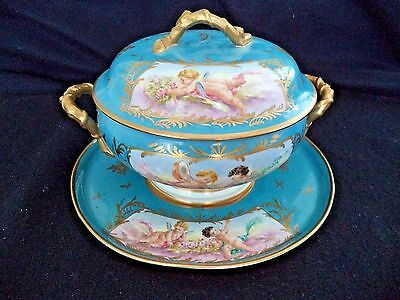 Sevres style porcelain china soup tureen platter painted cherubs music instrumen