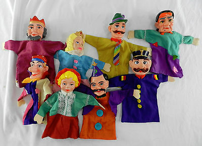 Lot of 8 Vintage German Rubber Head Hand Puppet King Queen Magician Witch