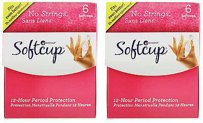 INSTEAD Softcup Menstrual Cup Disposable 6 Ct EACH (2 Boxes)