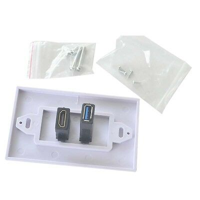 White HDMI + USB 3.0 Female Wall Face Plate Panel Outlet Extender Socket Newest