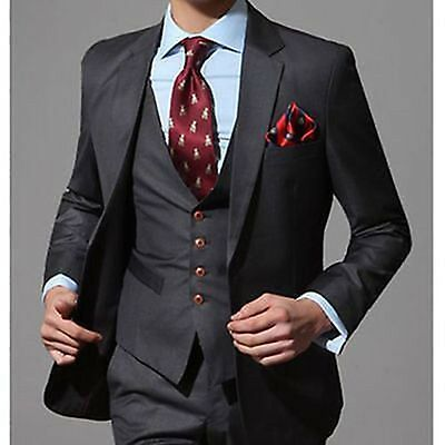 Custom Made Black Groom Wedding Suits Formal Business Best Man Party Tuxedos