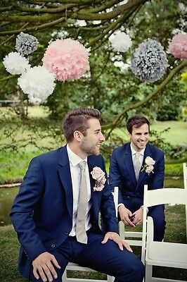 Blue Men's Custom Made Groom Wedding Tuxedos Best Man Evening Party Prom Suits