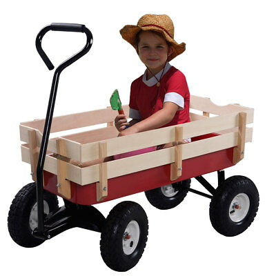 Garden Wagon Children Kids Pull Along Trolley Cart Trailer Transport Outdoor