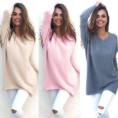 Womens Ladies V-Neck Chunky Knitted Oversized Sweater Jumper Tops Long Outwear