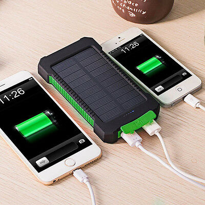 US 50000mAh Solar Power Bank 2 USB LED External Battery Charger For Cell Phone