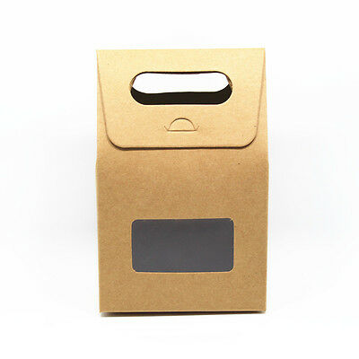 Colorful Kraft Paper with Clear Window Wedding Party Favor Handle Boxes
