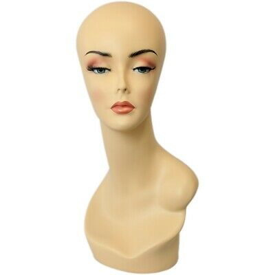 MN-138 Female Mannequin Earless Head Form w/ Hand Painted Realistic Makeup