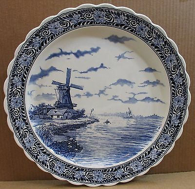 "Delfts Blauw Large 16"" Wall Plate Charger Platter Windmill Scene Made In Holland"