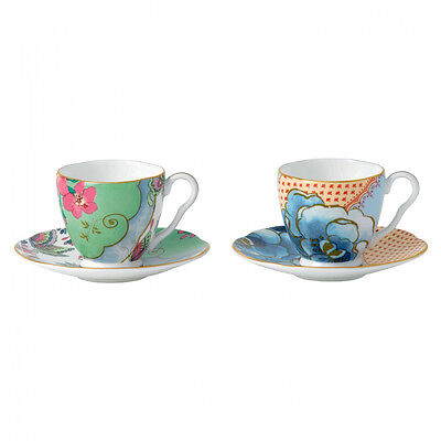 NEW Wedgwood Butterfly Bloom Espresso Cup and Saucer Set 4pce