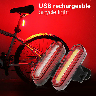 Waterproof USB Rechargeable COB Bicycle Bike Front Rear 6 Modes Tail LED Light