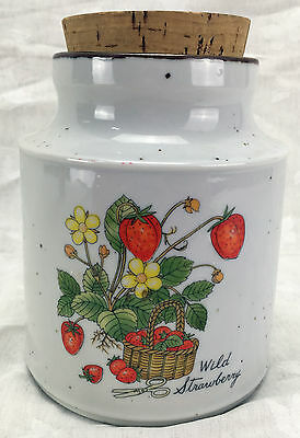 Canister Vintage WILD STRAWBERRY Country Japan Container Storage Decorative