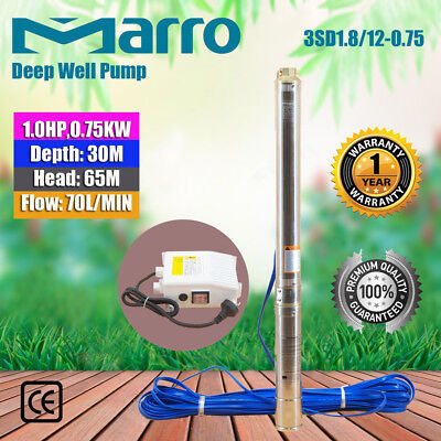"Marro 3"" Stainless Steel Submersible Bore Pump Deep Well Upto 65m Head,70l/min"