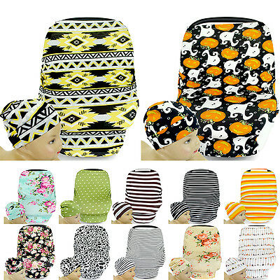 Stretchy Infant Baby Multi-Use Car Seat Canopy Nursing Cover Beanie Cap