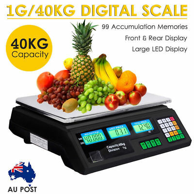 40KG Kitchen Digital Electronic Scale Commercial Shop Weight Scales Food Black