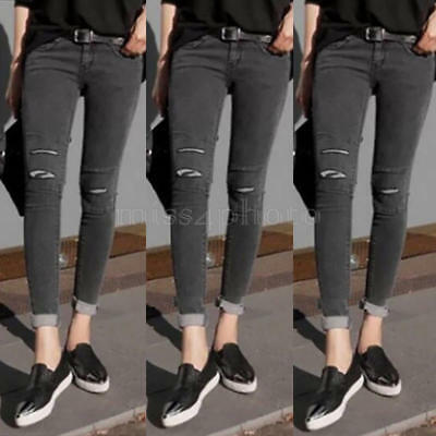 Women Destroyed Ripped White Denim Skinny Pants Hole Stretch Trousers Slim Jeans