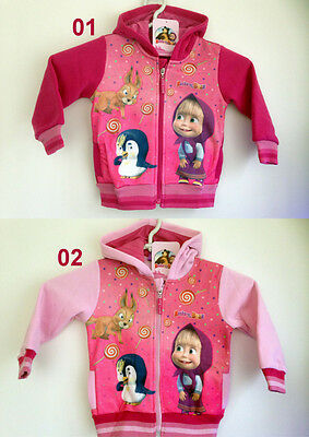 Girls Kids Masha and the Bear Long Sleeve Top Hoodie Jumper Sweatshirt age 3-8 y