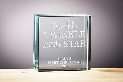 First Christmas Gift, Personalised Glass Block Gift, Baby Gift, Christmas Gift..