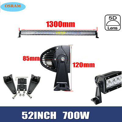 "5D 52""Inch OSRAM 700W LED Light Bar Spot Flood Combo Driving Wagon UTE SUV 4x4WD"