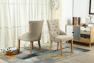 FoxHunter New Cream Linen Fabric Dining Chairs Scoop Tufted Back Office DCF04 x2