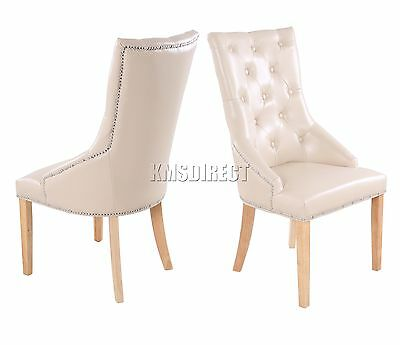 FoxHunter PU Dining Chair Scoop Back With Chrome Studs Office Seat PU02 Cream x2