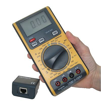 Auto Ranging Digital Multimeter Network USB RJ11 RJ12 RJ45 Cable Tester