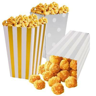 12Pcs/pack Shiny Metallic Popcorn Candy Boxes Loot Bags Gift Wedding Party Favor