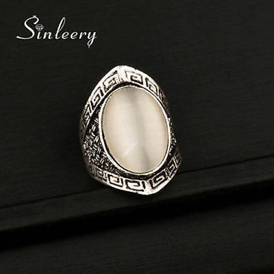 Gorgeous Big Opal Rings For Women Vintage Jewelry Antique Silver Plated 2017 New