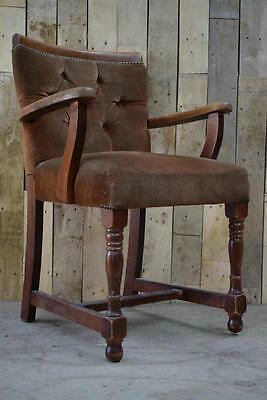 Retro Vintage Single Solid Oak Arts And Crafts Carver Smoking Chair
