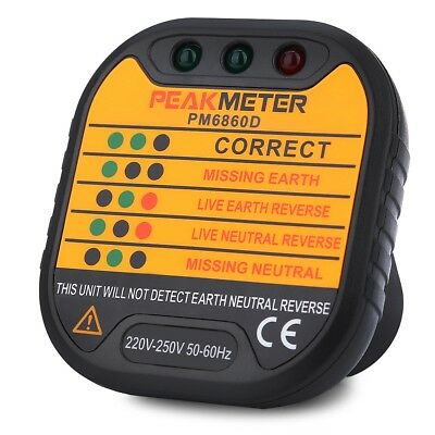 PEAKMETER PM6860D EU Mains Socket Tester Electrical POWER Plug In Safe Checker