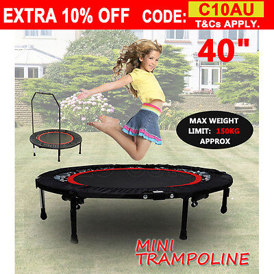 40'' MINI TRAMPOLINE HANDRAIL EXERCISE WORKOUT GYM CARDIO SPRING Safety  OUDOOR