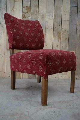 Retro Vintage Wooden Upholstered Art Deco Fireside Cocktail Chair