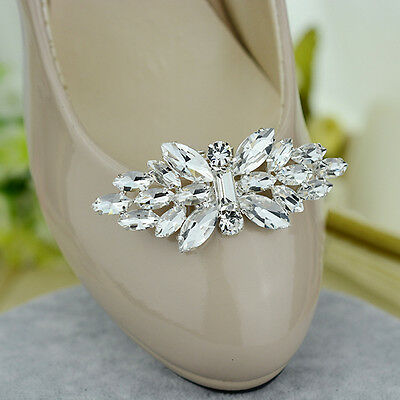 White Crystal Butterfly Shoe Clips Removable Decoration Buckle High Heels 1 Pc