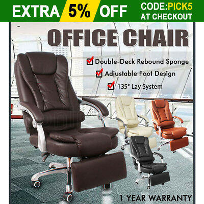 New Adjustable Executive PU Leather Office Chair Seat Recliner Home High Back OZ