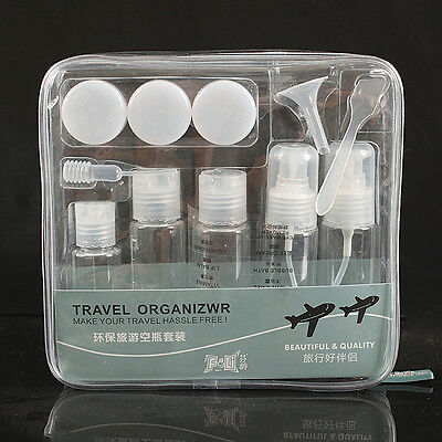 Travel Bottles Clear Flight Holiday 12 Peice  Sets  38ml 60ml 80ml