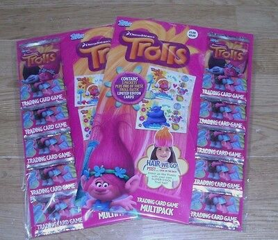 Topps Trolls Trading Cards: 5 Packets Multipack + Limited Edition Card