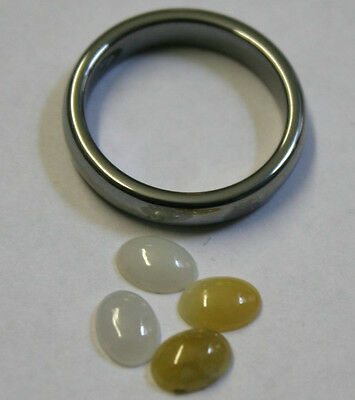 White And Yellow Jade Pack Of 4 Gemstones 5X7 Mm Cabochon 2.6Ct Total Gem Ja22