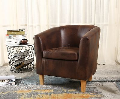 FoxHunter Vintage Brown Faux Leather Tub Chair Armchair Dining Room Lounge New