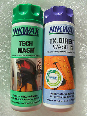 Nikwax Tx Direct & Tech Wash Waterproof Breathable Clothing Cleaner & Reproofer