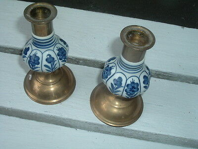 Vintage Jehvani  Porcelain Blue And White Brass Set Of 2 Candle Stick Holders